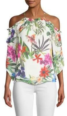 Parker Mildred Floral-Print Cold-Shoulder Top