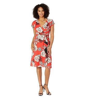 Adrianna Papell Faux Wrap Paisley Floral Dress with Drape