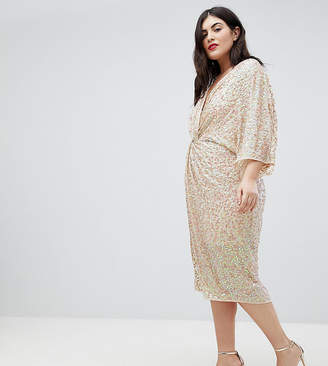 Asos Design Curve Embellished Sequin Kimono Midi Dress