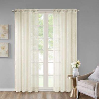 Madison Park Haze 95-Inch Grommet Top Window Curtain Panel in Ivory