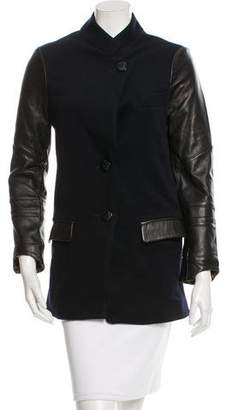 Veda Leather-Accented Wool Coat