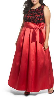 Eliza J Sleeveless Lace & Satin Ballgown (Plus Size)