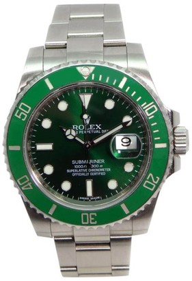 Rolex Submariner 116610 Heavy Band Green Cerachrom Bezel and Dial Glidelock Band Most Current Model Watch $8,640 thestylecure.com
