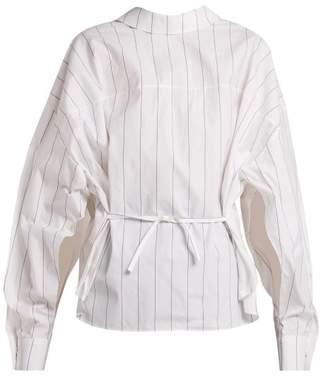 Awake Tie Waist Striped Cotton Shirt - Womens - White