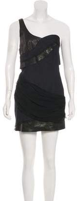 Alice + Olivia Leather and Silk Trimmed Dress