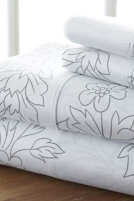 IENJOY HOME Home Spun Premium Ultra Soft Vine Pattern 4-Piece California King Bed Sheet Set - Gray