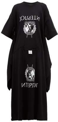 Vetements Interpol Print Deconstructed T Shirt Dress - Womens - Black