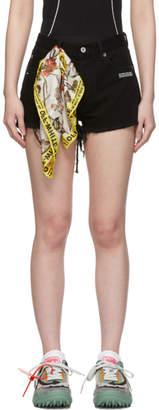 Off-White Black Denim Logo Shorts