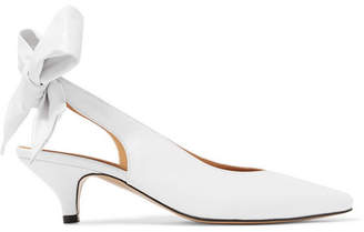 Ganni Sabine Leather Slingback Pumps - White