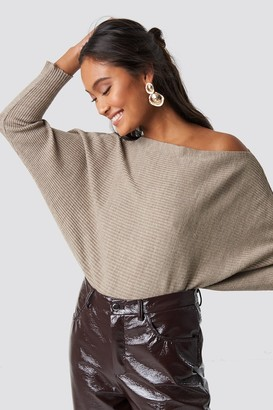 BEIGE Trendyol Off Shoulder Knitted Jumper