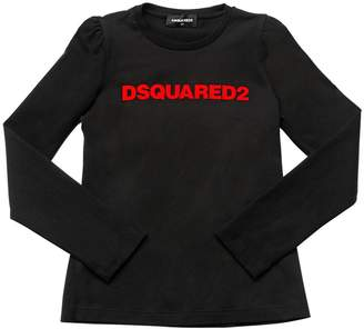 DSQUARED2 Logo Flocked Jersey Long Sleeve T-Shirt