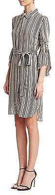Halston Women's Stripe Long-Sleeve Shirtdress