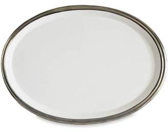 BAUM Baum White and Silver Trim Oval Ceramic Platter