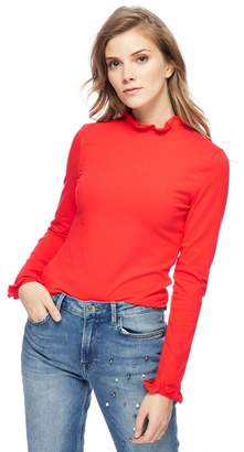 Red Herring Red Frilled Trim Roll Neck Top