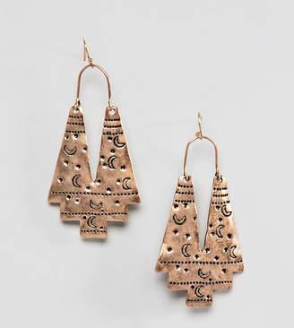 Reclaimed Vintage inspired etched moon earrings