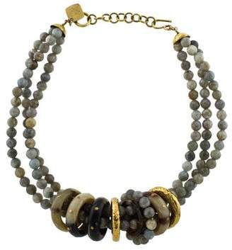 Ashley Pittman Labradorite & Horn Multistrand Bead Necklace