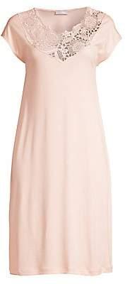 Hanro Women's Flora Lace-Trim Cap-Sleeve Night Gown