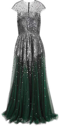 Reem Acra - Metallic Sequined Tulle Gown - Emerald