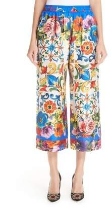 Dolce & Gabbana Tile Print Silk Pants
