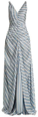 Attico - Penelope V Neck Striped Dress - Womens - Blue Stripe