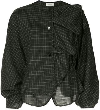Lemaire ruffled check blouse