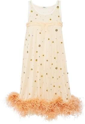 Miu Miu feather-trimmed mini dress