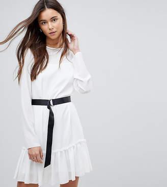 Asos Tall Long Sleeve Pep Hem Mini Dress With Belt