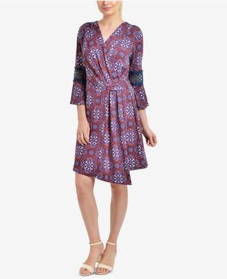 NY Collection Paisley-Print Faux-Wrap Dress