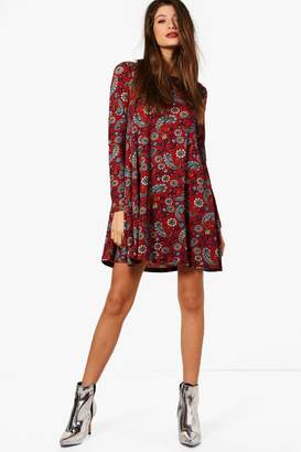 boohoo Paisley Print Brushed Knit Swing Dress