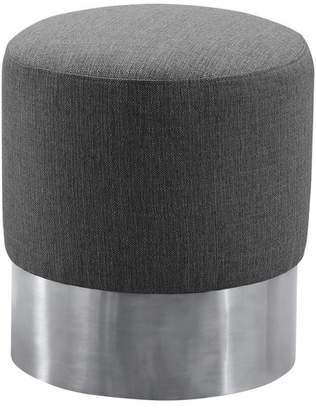 Tabitha Armen Living Contemporary Round Ottoman, Brushed Stainless Steel