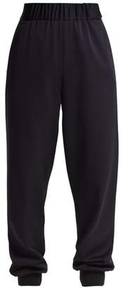 Tibi Sculpted Elasticated Waist Pique Trousers - Womens - Navy