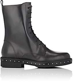 Barneys New York Women's Stud-Detailed Spazzolato Leather Combat Boots - Gray