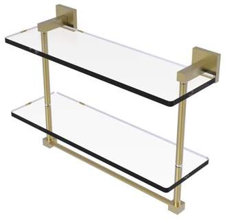 Allied Brass Montero Collection 16 Inch Two Tiered Glass Shelf with Integrated Towel Bar