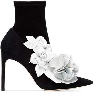 Sophia Webster Black lilico Flower 105 suede boots
