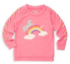 Chaser Little Girl's Princess Rainbow Graphic Pullover