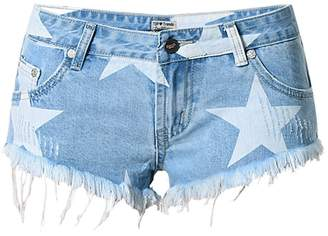 ECHOINE Junior's Sexy Mini Short Jeans Low Waist Fringed String Side Open 40