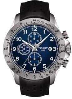 Tissot T-Sport Stainless Steel V8 Automatic Chronograph Leather-Strap Watch