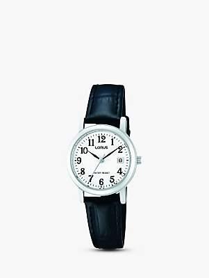Lorus RH765AX9 Women's Date Leather Strap Watch, Black/White