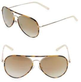 Linda Farrow Luxe Tortoiseshell 57MM Aviator Sunglasses