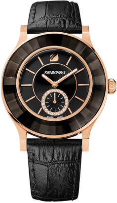 Swarovski Women's Swiss Octea Classica Black Leather Strap Watch 39mm