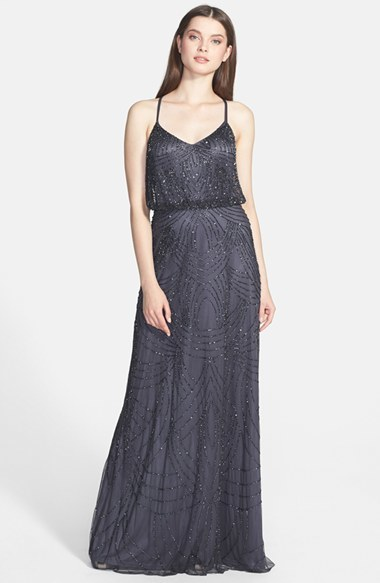Adrianna Papell Women's Adrianna Papell Beaded Chiffon Blouson Gown