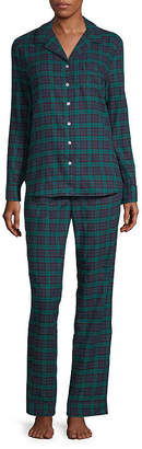 Liz Claiborne Notch Collar Flannel Pant Pajama Set-Tall