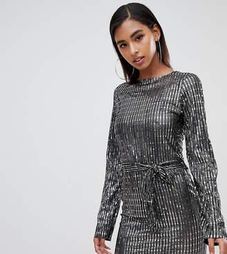 Club L tie front metallic long sleeve dress