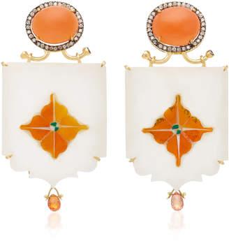 Silvia Furmanovich India Marble Mosaic Honey Moonstone Earrings