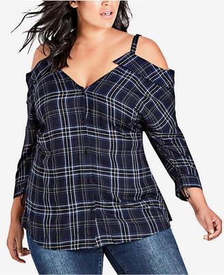 City Chic Trendy Plus Size Plaid Cold-Shoulder Top