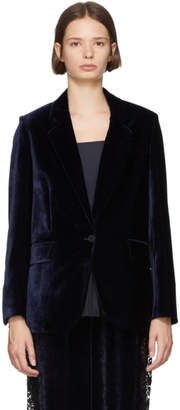 Stella McCartney Navy Fluid Velvet Blazer