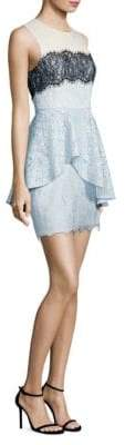 BCBGMAXAZRIA Noah Asymmetrical Lace Peplum Dress