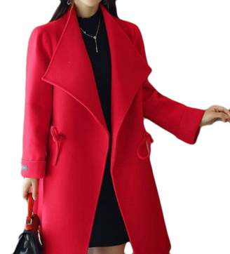 KLJR-Women Casual Plus Size Loose Drawstring Wool Blend Pea Coats US L