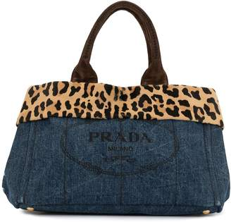 Prada Pre-Owned Canapa leopard detail tote