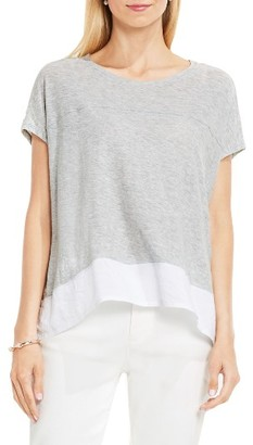Women's Two By Vince Camuto Chiffon High/low Hem Knit Tee $59 thestylecure.com